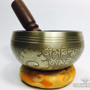 "4"" – STUNNING CARVED BRONZE MIX NEPALESE SINGING BOWL – Made In Nepal"
