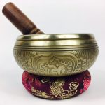 """4.5"""" - (Heart Chakra) STUNNING CARVED BRONZE MANTRA MIX NEPALESE SINGING BOWL - Made In Nepal"""