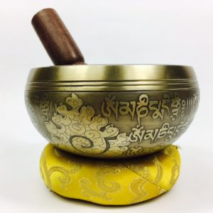 "5"" – STUNNING CARVED BRONZE MIX NEPALESE SINGING BOWL – Made In Nepal"