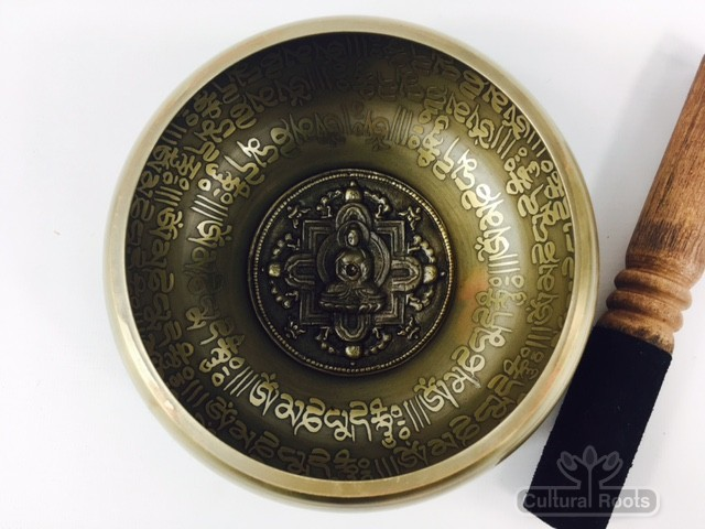 "5.5"" - (Root Chakra) STUNNING CARVED BRONZE MANTRA MIX NEPALESE SINGING BOWL - Made In Nepal (Copy)"
