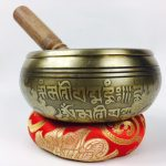"""5.5"""" - (Root Chakra) STUNNING CARVED BRONZE MANTRA MIX NEPALESE SINGING BOWL - Made In Nepal"""