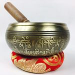 """5.5"""" - (Root Chakra) STUNNING CARVED BRONZE MANTRA MIX NEPALESE SINGING BOWL - Made In Nepal (Copy)"""