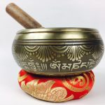 """5.5"""" - (Heart Chakra) STUNNING CARVED BRONZE MANTRA MIX NEPALESE SINGING BOWL - Made In Nepal"""