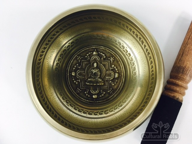 "5.5"" - (Root Chakra) STUNNING CARVED BRONZE MANTRA MIX NEPALESE SINGING BOWL - Made In Nepal"