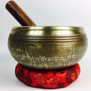 "6"" - (Third Eye) STUNNING CARVED BRONZE MANTRA MIX NEPALESE SINGING BOWL - Made In Nepal"