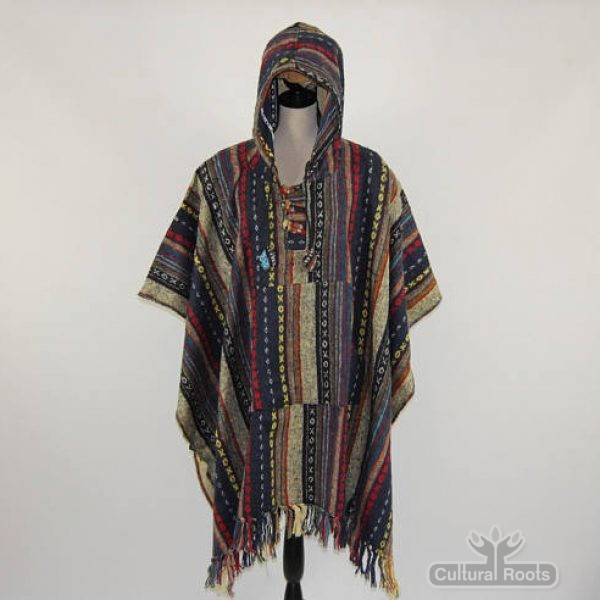 Unisex heavy 100% brushed cotton hooded Poncho - festival garden hippy night wear - Made In Nepal