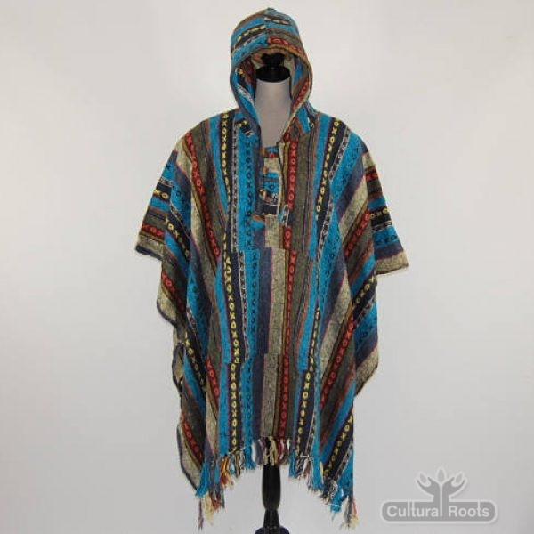 Unisex heavy 100% brushed cotton hooded Poncho - festival garden hippy night wear - Made In Nepal_10