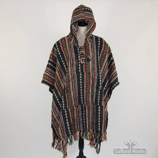 Unisex heavy 100% brushed cotton hooded Poncho - festival garden hippy night wear - Made In Nepal_7