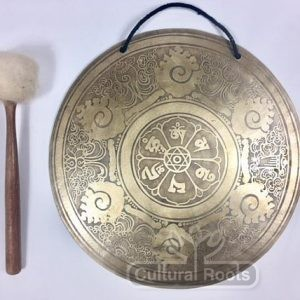 "cultural_roots_13"" (Root Chakra) Beautiful Nepalese Lotus Flower Carved Design Healing Gong - 1.3_1"