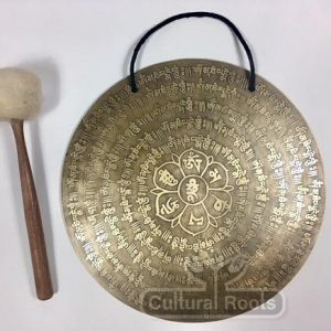 "cultural_roots_13"" (Throat Chakra) Beautiful Nepalese Lotus Flower Carved Design Healing Gong - 1.3 KG_1"