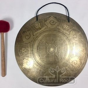 "cultural_roots_18"" (Root Chakra) Beautiful Nepalese Lotus Flower Carved Design Healing Gong - 2.5 KG_1"