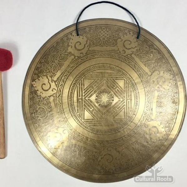 "cultural_roots_20"" (Root Chakra) Beautiful Nepalese Lotus Flower Carved Design Healing Gong - 4 KG_01"