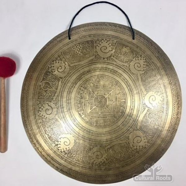 "cultural_roots_23"" (Throat Chakra) Beautiful Nepalese Lotus Flower Carved Design Healing Gong - 4.4 KG_01"
