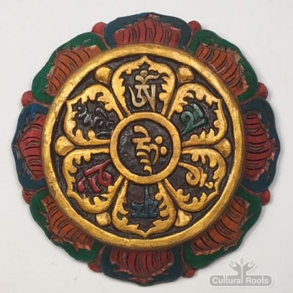 cultural_roots_Tibetan Wood Craft Wall Hanging - Hand Carved And Painted_Om_manu_1