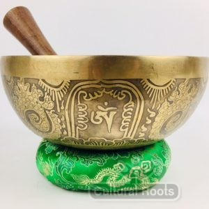 "8"" (Heart Chakra) Traditional Hand Made Carved Tibetan Sound Healing Singing Bowl - 1.1 kg"