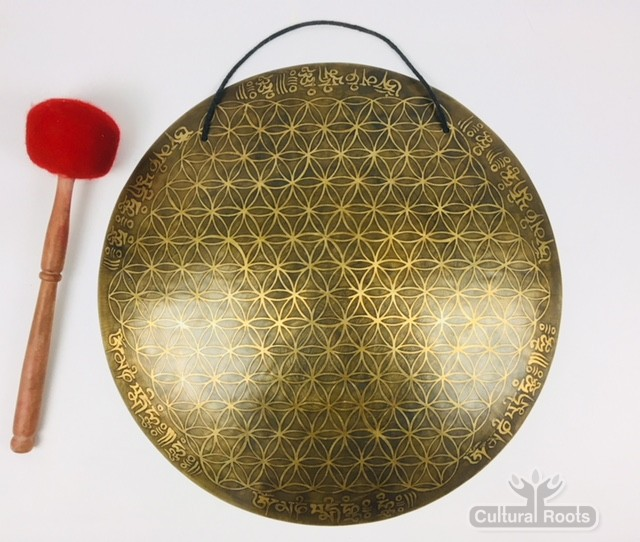 """18"""" (Root Chakra) Beautiful Nepalese Carved Gong - Flower Of Life - 2.2 kg ॐ"""