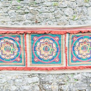 Authentic vintage Buddhist Buddha Hand Painted Monastery Mandala Lotus Wall Hanging ॐ