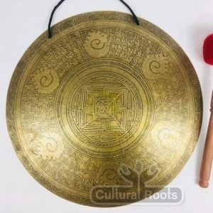 "18"" (Root Chakra) Beautiful Nepalese Mandala Carved Design Healing Gong - 2.29 KG ॐ"