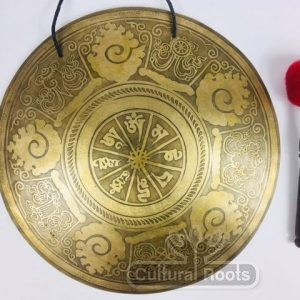 "15"" (3rd Eye Chakra) Beautiful Nepalese Om Mani Padme Hum Carved Design Healing Gong - 1.26 kg ॐ"