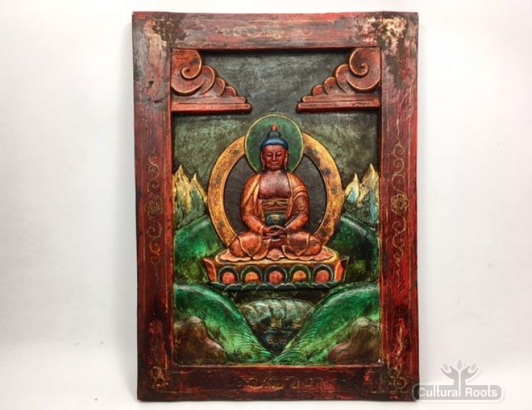 Beautiful Vintage Carved Hand Painted Framed Buddha Himalayan folk Art ॐ