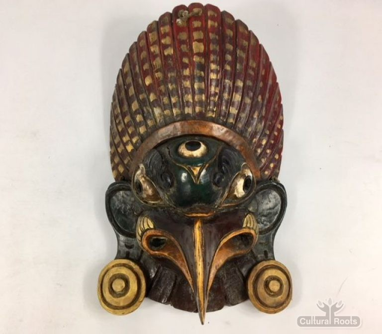 Beautiful Vintage Hand Crafted Painted Garuda Mask Himalayan folk Art ॐ